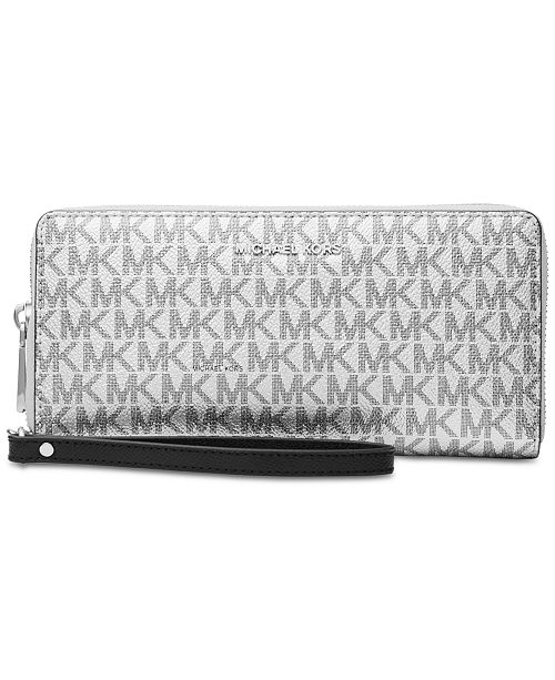 e71e4ec3837b Michael Kors Boxed Metallic Signature Travel Continental Wallet ...