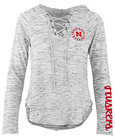 Pressbox Women's Nebraska Cornhuskers Spacedye Lace Up Long Sleeve T-Shirt