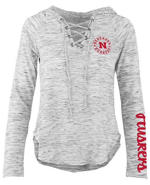 eef0fc44c Pressbox Women's Nebraska Cornhuskers Spacedye Lace Up Long Sleeve T ...