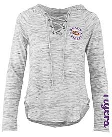 Women's LSU Tigers Spacedye Lace Up Long Sleeve T-Shirt