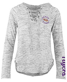 Pressbox Women's LSU Tigers Spacedye Lace Up Long Sleeve T-Shirt