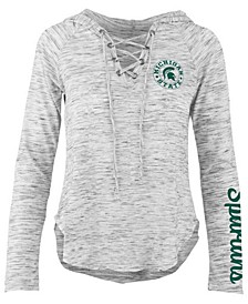 Women's Michigan State Spartans Spacedye Lace Up Long Sleeve T-Shirt