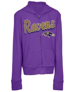 Image of 5th & Ocean Baltimore Ravens Sweater Full-Zip Hoodie, Girls (4-16)