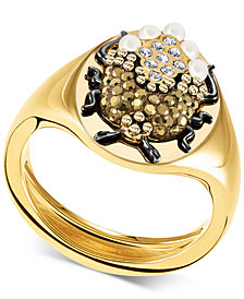 Swarovski Gold-Tone Crystal & Imitation Pearl Scarab Beetle Signet Ring