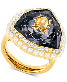 Swarovski Gold-Tone Crystal & Imitation Pearl Scarab Beetle Statement Ring