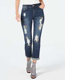 I.N.C. Curvy Crystal-Embellished Distressed Boyfriend Jeans, Created for Macy's