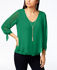 Thalia Sodi V-Hem Tie-Sleeve Top, Created for Macy's