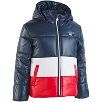 Tommy Hilfiger Big Girls Hooded Colorblocked Puffer Jacket (Rhubarb/Navy)