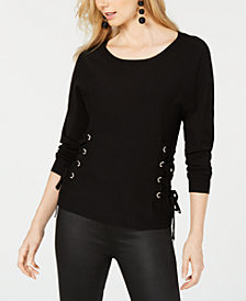 I.N.C. Petite Scoop-Neck Lace-Up Sweater, Created for Macy's
