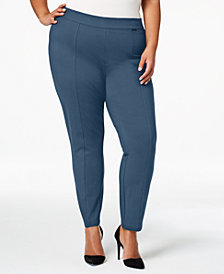 Anne Klein Plus Size Ponté-Knit Compression Leggings