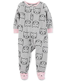 Carter's Toddler Girls Cat-Print Footed Pajamas