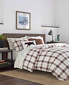 Eddie Bauer Riverdale King Plaid Flannel Red Duvet Set