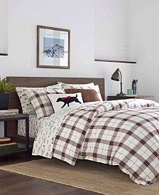Eddie Bauer Riverdale Twin  Plaid Flannel Red Duvet Set