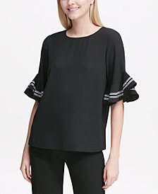 Calvin Klein Ruffled-Sleeve Top, Created for Macy's