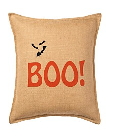 Boo! Burlap Pillow Front Panel Interior Cotton Lined