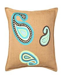 Paisley Burlap Applique Cotton Canvas Pillow