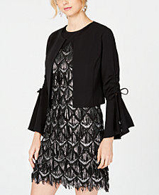 julia jordan Bell-Sleeve Ruched Shrug