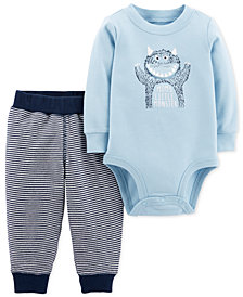 Carter's Baby Boys 2-Pc. Cotton Mom's Little Monster Bodysuit & Allover Striped Pants Set
