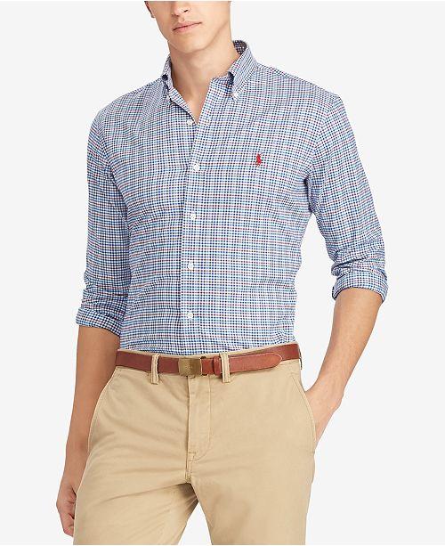 689bc82f3b1f ... Polo Ralph Lauren Men's Classic Fit Plaid Twill Cotton Shirt ...