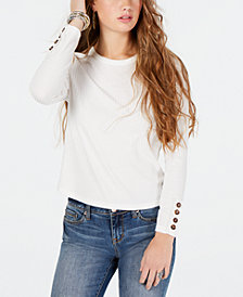 American Rag Juniors' Ribbed Button-Detail Top, Created for Macy's