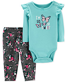 Carter's Baby Girls 2-Pc. Butterflies Bodysuit & Pants Set