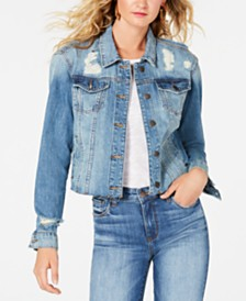 STS Blue Distressed Cropped Cotton Denim Jacket