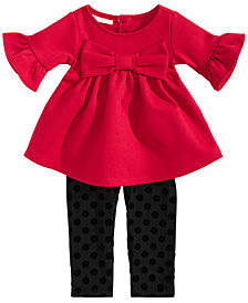 First Impressions Baby Girls 2-Pc. Bow Tunic & Dot-Print Leggings Set, Created for Macy's