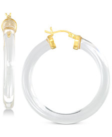 Simone I. Smith Lucite Hoop Earrings in 18k Gold over Sterling Silver