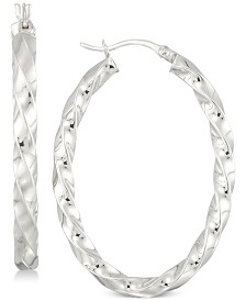 Simone I. Smith Textured Hoop Earrings in Sterling Silver