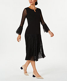 JM Collection Pleated Shine-Sleeve Top & Metallic Tiered Skirt, Created for Macy's