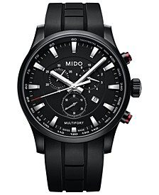 Men's Swiss Chronograph Multifort Black Rubber Strap Watch 42mm