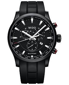 Mido Men's Swiss Chronograph Multifort Black Rubber Strap Watch 42mm
