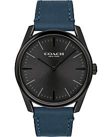 COACH Men's Preston Blue Leather Strap Watch 41mm