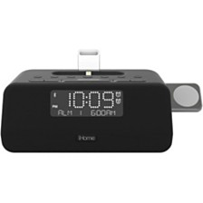 iHome Bluetooth Dual Alarm FM Clock Radio with Speakerphone & Triple Charging Lightning Dock