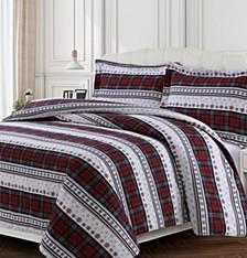 Comfy Stripe Cotton Flannel Printed Oversized Queen Duvet Set