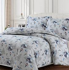 Snowman Cotton Flannel Printed Oversized King Duvet Set