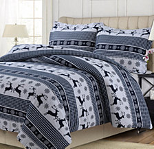 Gingham Deer Heavyweight Cotton Flannel Printed Oversized King Duvet Set