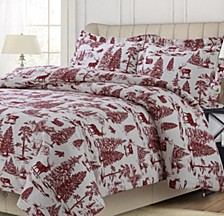 Mountain Toile Cotton Flannel Printed Oversized King Duvet Set