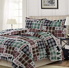 Patchwork Plaid Printed Heavyweight Flannel Oversized Queen Duvet Set
