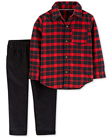 Carter's Baby Boys Plaid Cotton Shirt & Pants Set