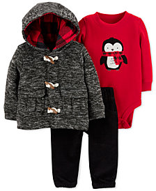Carter's Baby Boys 3-Pc. Hoodie, Penguin Bodysuit & Pants Set