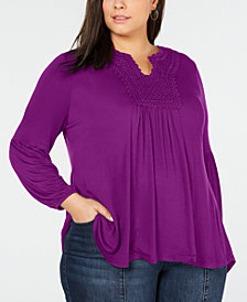 Style & Co Plus Size Crochet-Yoke Peasant Top, Created for Macy's
