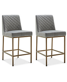 Cambridge Velvet Stool, 2-Pc. Set (2 Grey Counter Stools)