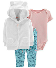 Carter's Baby Girls 3-Pc. Faux-Fur Hoodie, Bodysuit & Leggings Set