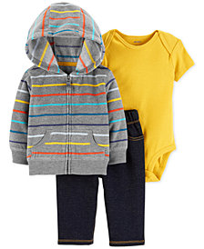 Carter's Baby Boys 3-Pc. Striped Hoodie, Bodysuit & Denim Pants Set