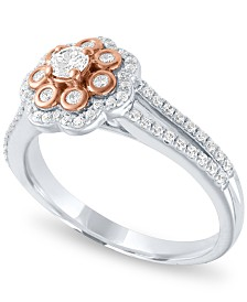 Diamond Two-Tone Flower Halo Engagement Ring (1/2 ct. t.w.) in 14k White and Rose Gold