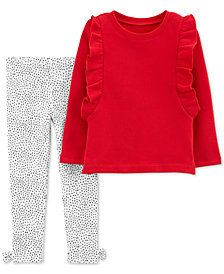 Carter's Baby Girls 2-Pc. Ruffles Top & Dot-Print Leggings Set