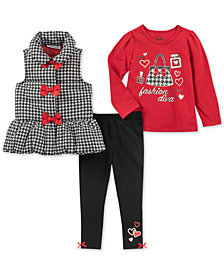 Kids Headquarters Baby Girls 3-Pc. Bows Vest, Diva-Print T-Shirt & Leggings Set