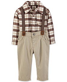Carter's Baby Boys 2-Pc. Plaid Bodysuit & Suspender Pants Set