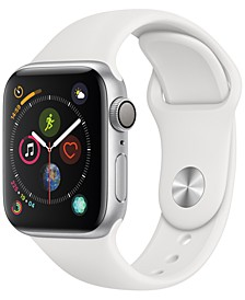 Apple Watch Series 4 GPS, 40mm Silver Aluminum Case with White Sport Band